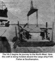 Liverpool Echo article about the VA-3 service - Being loaded from the Vickers Armstrong base at Southampton for transport to Firth Fisher (Paul Greening).