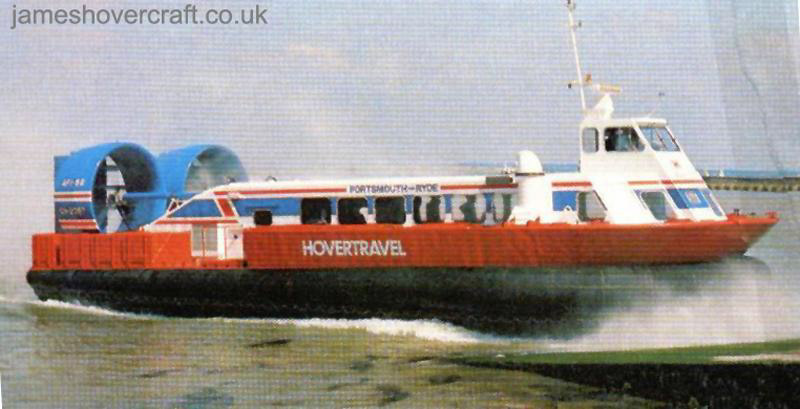 AP1-88 hovercraft - An AP1-88 arriving at the slipway of the once BHC factory in East Cowes, Isle of Wight. (Photo in Croome, 1984)