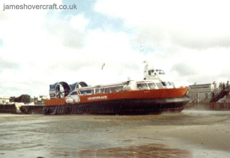 AP1-88 hovercraft - Here is the first ever built AP1-88/80 prototype, Tenacity (GH-2087) leaving Ryde in 1983. Ryde slipway was more curved and a lot smaller then, only enough room for two craft, unlike today when they can fit four craft on the slipway (Photo: David Ingham)