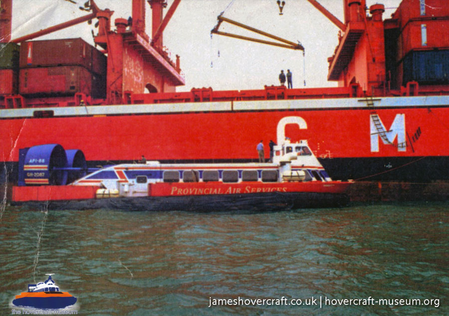 AP1-88 hovercraft - shipping Tenacity -   (The <a href='http://www.hovercraft-museum.org/' target='_blank'>Hovercraft Museum Trust</a>).