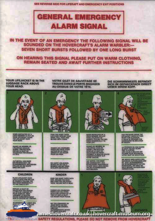 SRN4 Safety information card -   (The <a href='http://www.hovercraft-museum.org/' target='_blank'>Hovercraft Museum Trust</a>).