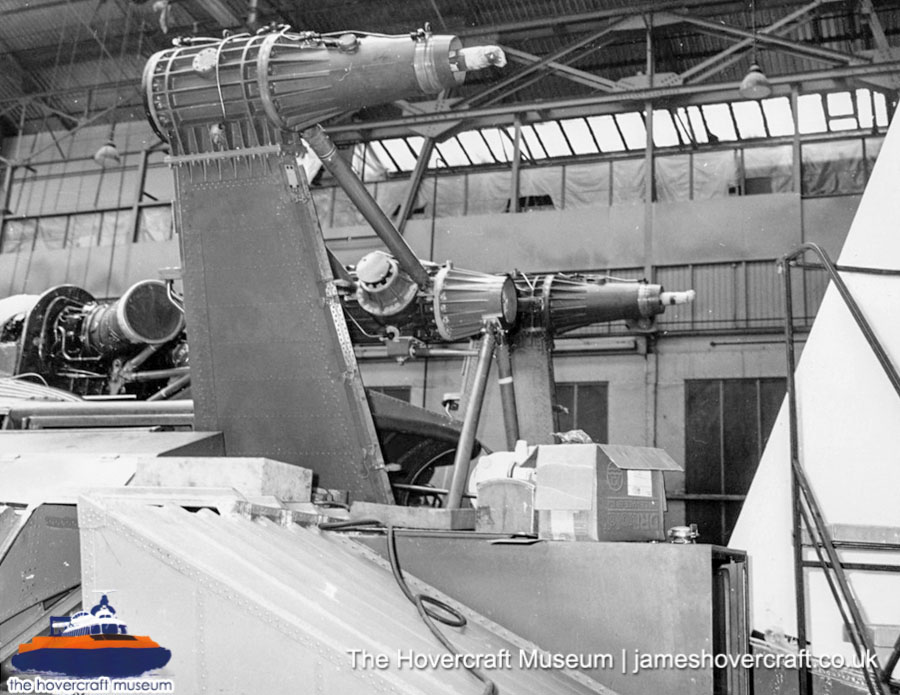 SRN6 close-up details - Twin-prop in factory (The Hovercraft Museum Trust).