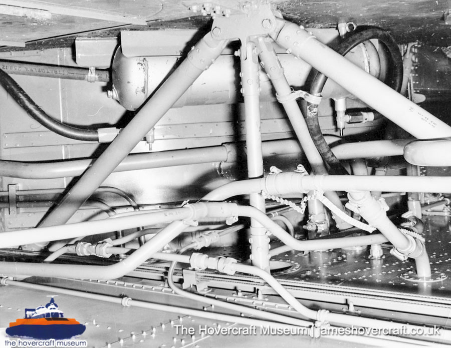 SRN6 close-up details - High-pressure hoses (The Hovercraft Museum Trust).