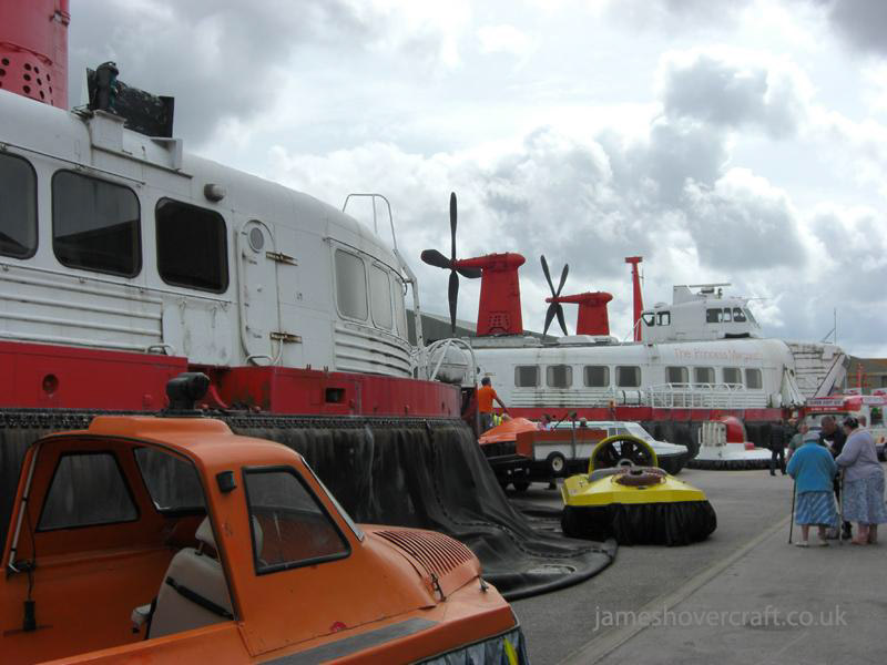 Walking around at the 2009 Hovershow - Two SRN4s surrounded by large and small craft from the museum collection (James Rowson).