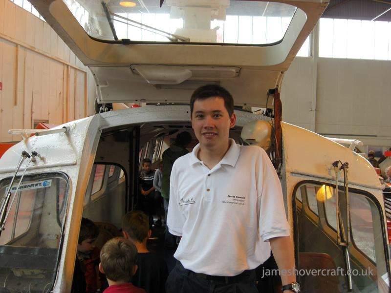 Walking around at the 2009 Hovershow - Me on the bow ramp of the museum's first ever craft, donated to Warwick in the late 70s (James Rowson).