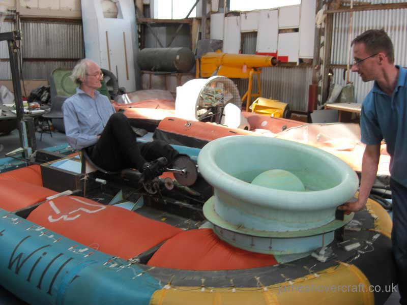 Human Powered Hovercraft at the 2011 Hovershow - Simon directing and Chris flying the machine (James Rowson).