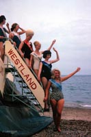 The SRN2 on the Southsea to Ryde route - Girls on the steps for a promotional photo (Pat Lawrence).