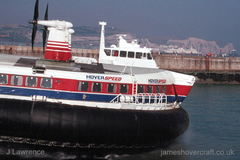 The SRN4 with Hoverspeed in Dover - The Princess Margaret (GH-2006) departing from the Dover ramp (Pat Lawrence).
