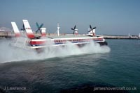 The SRN4 with Hoverspeed in Dover - The Princess Margaret (GH-2006) departing Dover (Pat Lawrence).