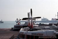 The SRN4 with Hoverspeed in Dover - The SRN4s lined up on the pad ready to go (Pat Lawrence).