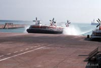 The SRN4 with Hoverspeed in Dover - Mk III The Princess Margaret (GH-2006) arriving behind the smaller craft (Pat Lawrence).