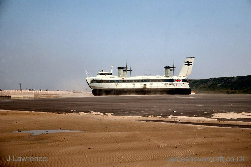 The SRN4 with Seaspeed in Calais - Hovering in the distance (Pat Lawrence).