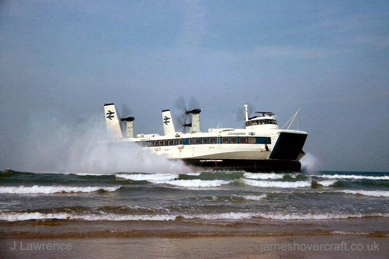 The SRN4 with Seaspeed in Calais - Arriving at Calais (Pat Lawrence).