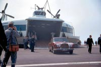The SRN4 with Seaspeed in Calais - Cars disembarking (Pat Lawrence).