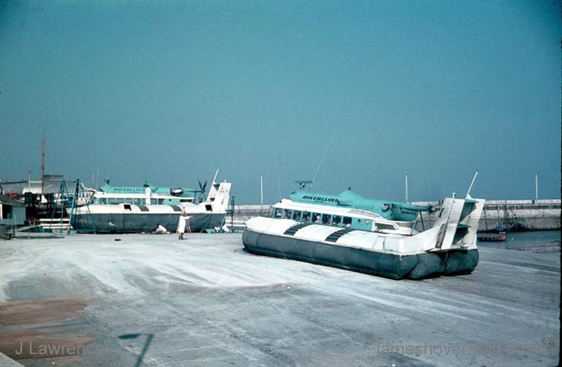 The SRN6 with Hoverlloyd - Two craft, one on jacks for maintenance (Pat Lawrence).