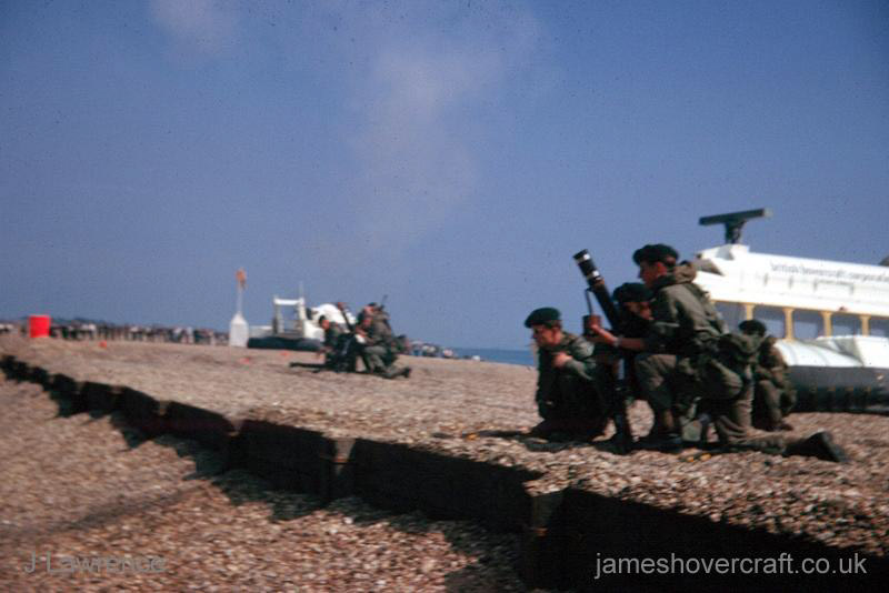 The SRN6 with the Inter-Service Hovercraft Trials Unit, IHTU - Troops in the foreground (Pat Lawrence).
