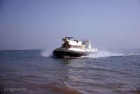 The SRN6 with the Inter-Service Hovercraft Trials Unit, IHTU - Approaching the beach (Pat Lawrence).