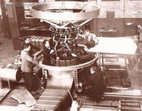 The SRN1 being manufactured - Here is shown a later stage in the SRN1's build, including the cockpit (right), engine, and support for the propeller. Also can be seen one of the two air ducts (lower middle) used to bleed air from the main lift fan to provide thrust in the form of two directional air jets (Peter Insole).