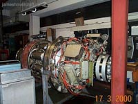 SRN4 systems tour - An engine seen ready and waiting to be installed on a craft, in the engineering department of Hoverspeed, Dover.  (James Rowson).