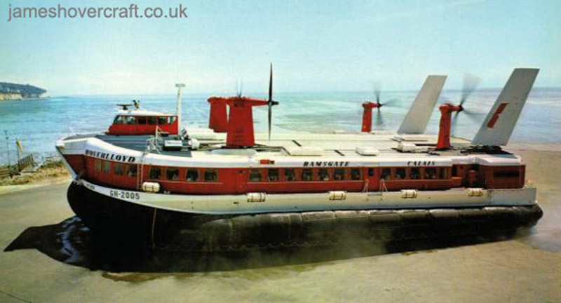 SRN4 Mk II operations from Pegwell Bay hoverport with Hoverlloyd - Sure on hover at Ramsgate (Mike Fuller).