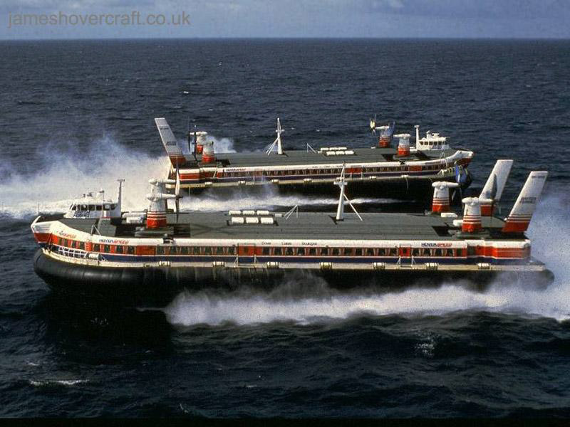 SRN4 Mk III craft with Hoverspeed, promotional shoot in 1988 - Promotional shots of the two Princesses in 1988, crossing mid-Channel (John Lloyd).