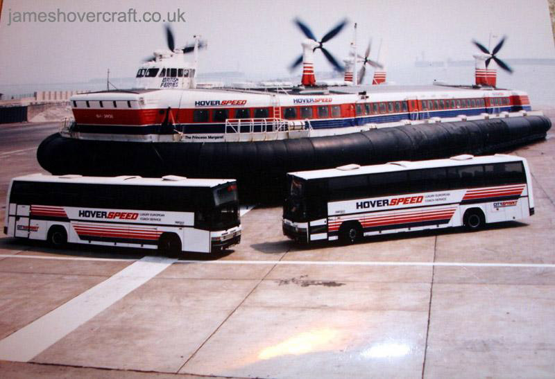 SRN4 Mk III craft with Hoverspeed, promotional shoot with two coaches - Big brother dwarves the HGVs (Tim Stevenson).