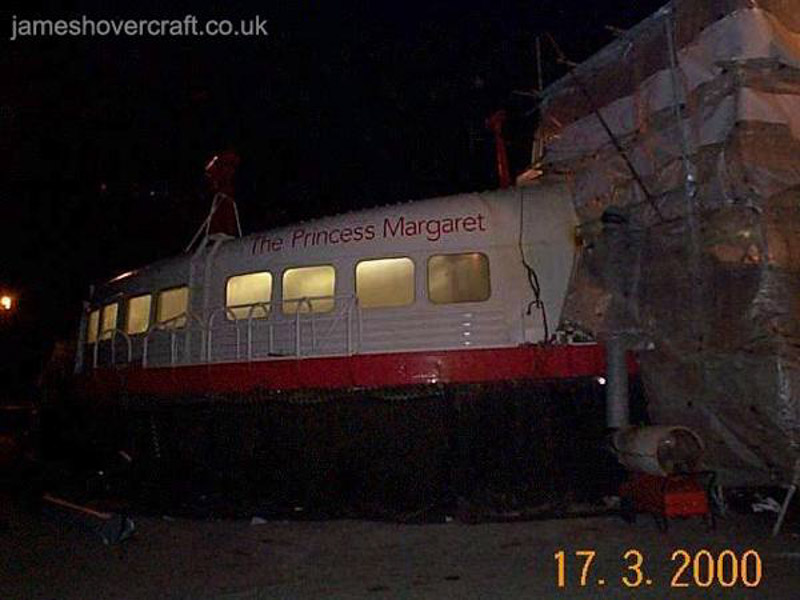 Hoverspeed Engineering Workshops - The Princess Margaret (GH-2006) within protective wrapping for her annual deep maintenance (James Rowson).