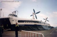 SRN4 Mk III craft operating with Hoverspeed - The Princess Anne (GH-2007) waiting to depart to the Goodwin Sands as a charter flight by the Goodwin Sands Potholing Club (James Rowson).