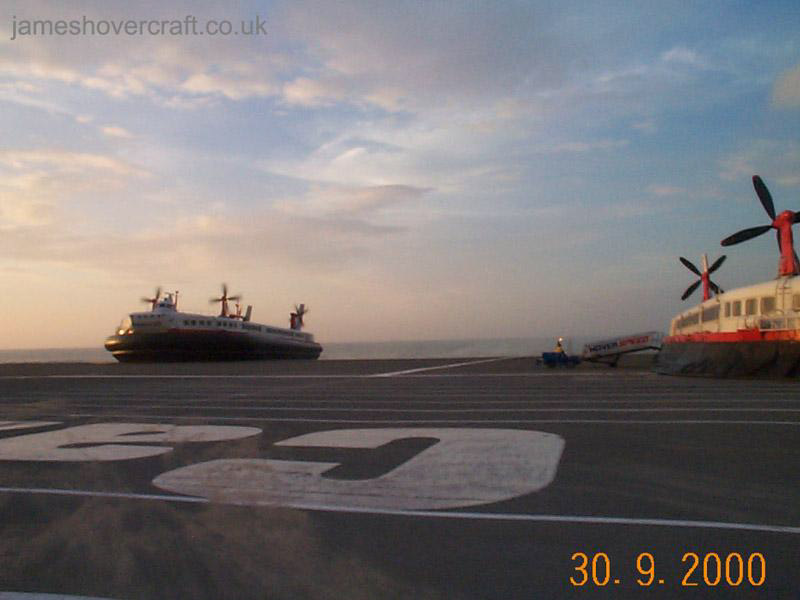 The last days of the SRN4 cross-channel service with Hoverspeed - The Princess Margaret (GH-2007) arriving behind The Princess Anne (GH-2006) at Calais (James Rowson).