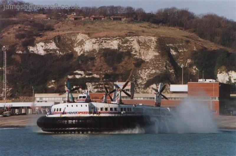 SRN4s operating with Hoverspeed - The Princess Margaret (GH-2007) departing Dover