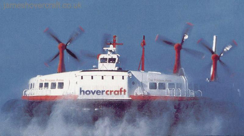 SRN4s operating with Hoverspeed - The Princess Anne (GH-2006) from the front (Hoverspeed)