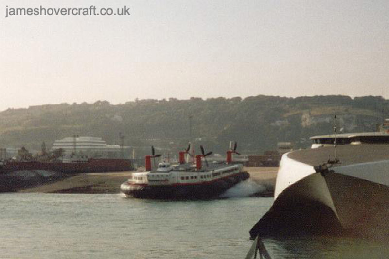 The last days of the SRN4 cross-channel service with Hoverspeed - The Princess Margaret (GH-2007) departing Dover Hoverport, down the Ramp (Thomas Loomes).