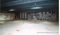 The inside of the derelict Boulogne hoverport - Arrivals hall (N Levy).