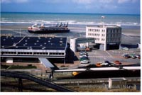 Old postcards from Boulogne Hoverport, France - Hoverspeed SRN4 MkIIIs at Boulogne Hoverport (N Levy).