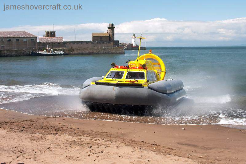Tiger 12 hovercraft in operation with Hovercraft Rental - Approaching the beach ().