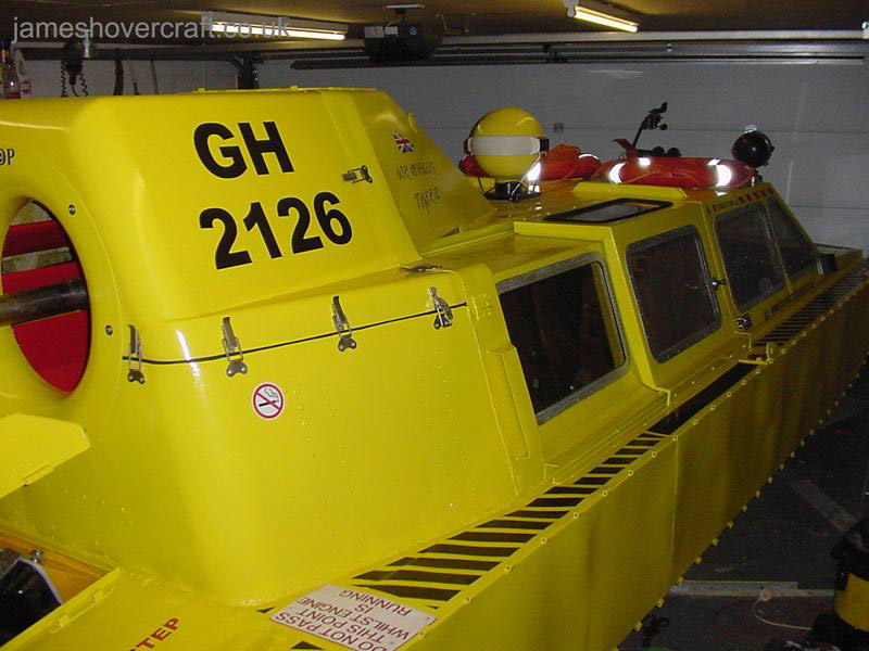 Restoring an old Tiger 12 hovercraft to a fully working state - Looking forward along the side of the craft ().